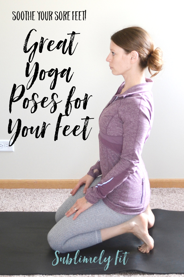 Four foot stretches that will help you stretch out your feet. These easy yoga poses will help your sore feet and ankles feel great!