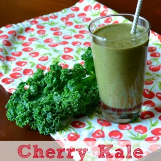 Easy Green Smoothie Recipe: Cherry Kale Smothie. It's a quick, delicious way to eat more green, leafy veggies!