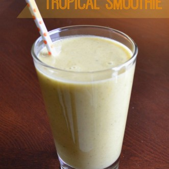 Winter escape tropical smoothie: a healthy, delicious smoothie with tropical flavors that will make you think you're in the warm tropics!