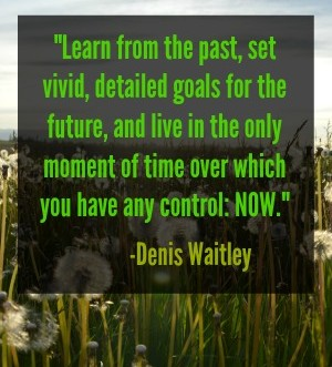 """Motivational quote: """"Learn from the past, set vivid, detailed goals for the future, and live in the only moment of time over which you have any control: now."""" -Denis Waitley. Do you live in the present moment or spend too much time dwelling on the past or future?"""