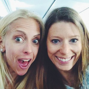 suz and beth on a plane