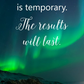 Motivational quote: Discomfort is temporary. The results will last.