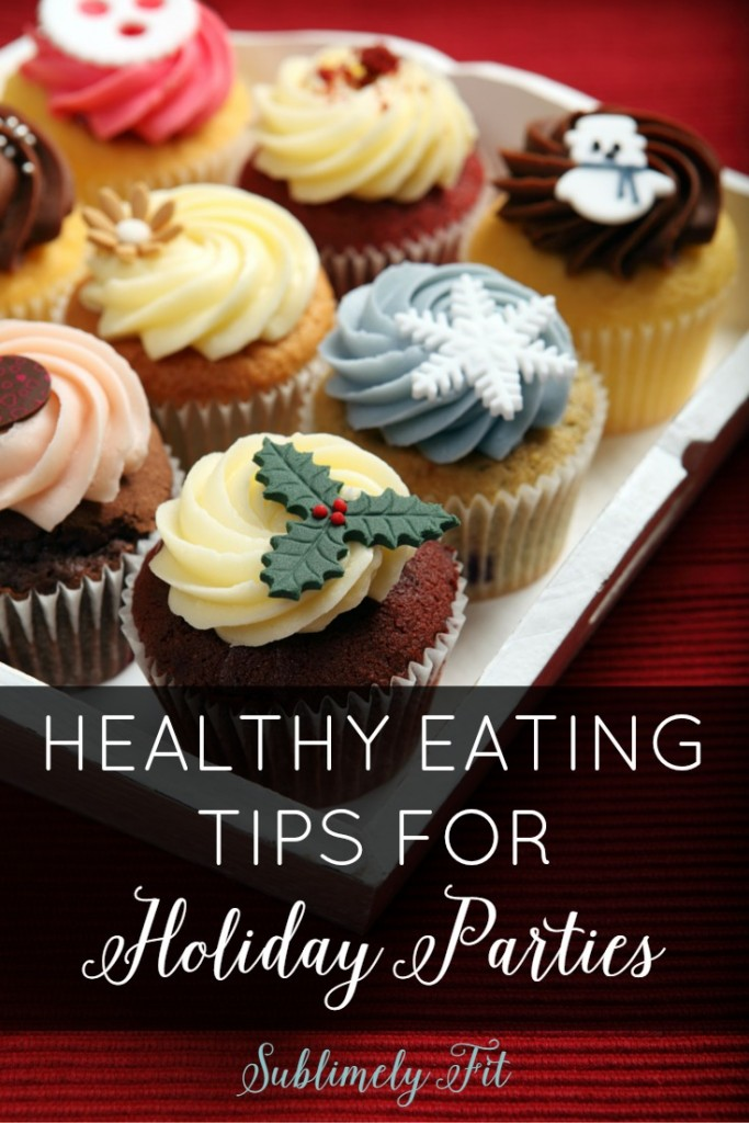 Healthy Eating Tips for Holiday Parties: Headed to a holiday party? Use these tips to help you stay on track with your healthy eating goals at the party!