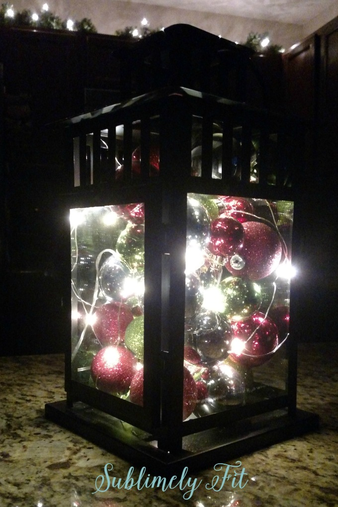 lantern filled with ornaments