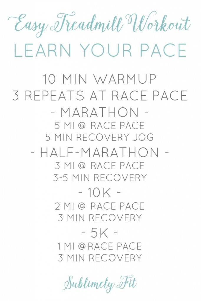 Easy treadmill speed workouts - learn your race pace on the treadmill.