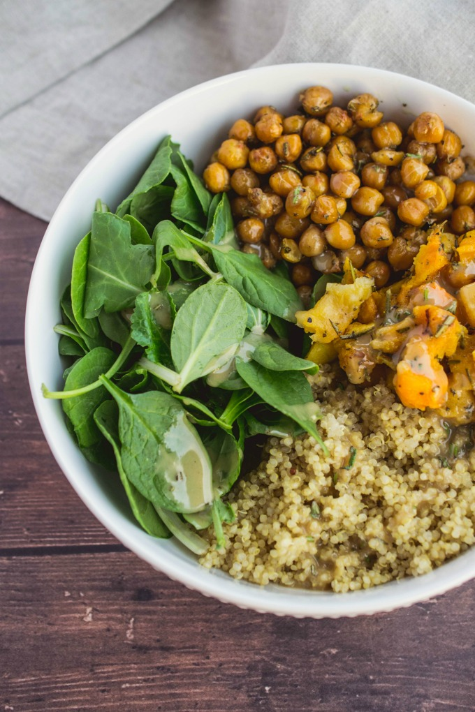 Looking for a simple but delicious healthy recipe? Look no further than this Butternut Squash Buddha Bowl with Rosemary-Maple Tahini Dressing!
