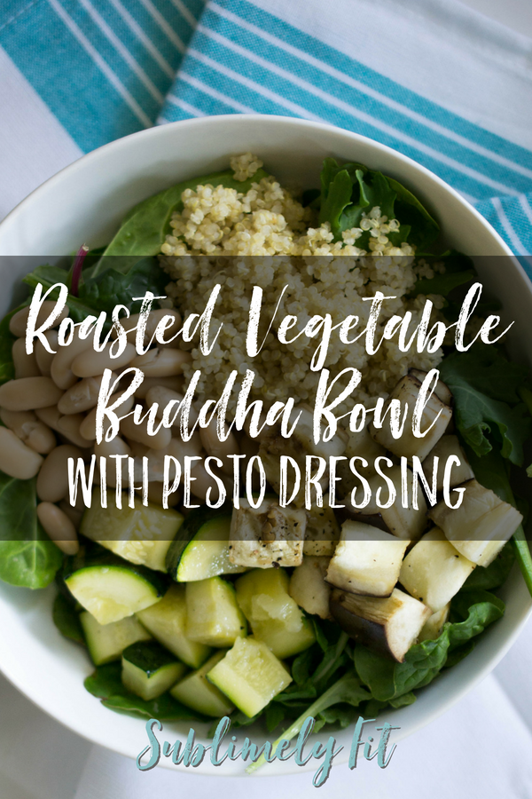 This roasted vegetable Buddha Bowl is full of healthy nutrients, and it's topped with a creamy tahini pesto dressing and delicious pine nuts. Yum! {Vegan, Gluten-Free}