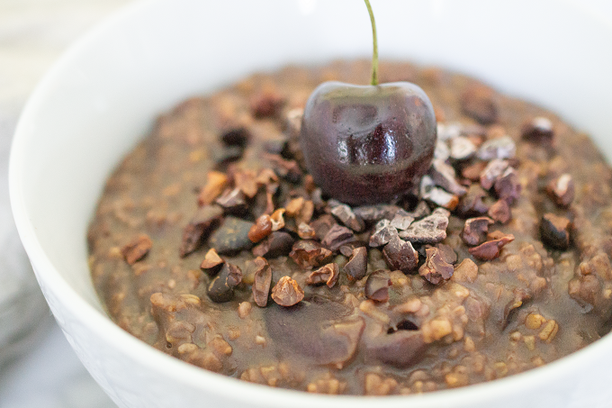 Instant Pot Chocolate-Covered Cherry Oatmeal