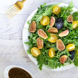 Simple Fig Arugula Salad with Maple Balsamic Dressing